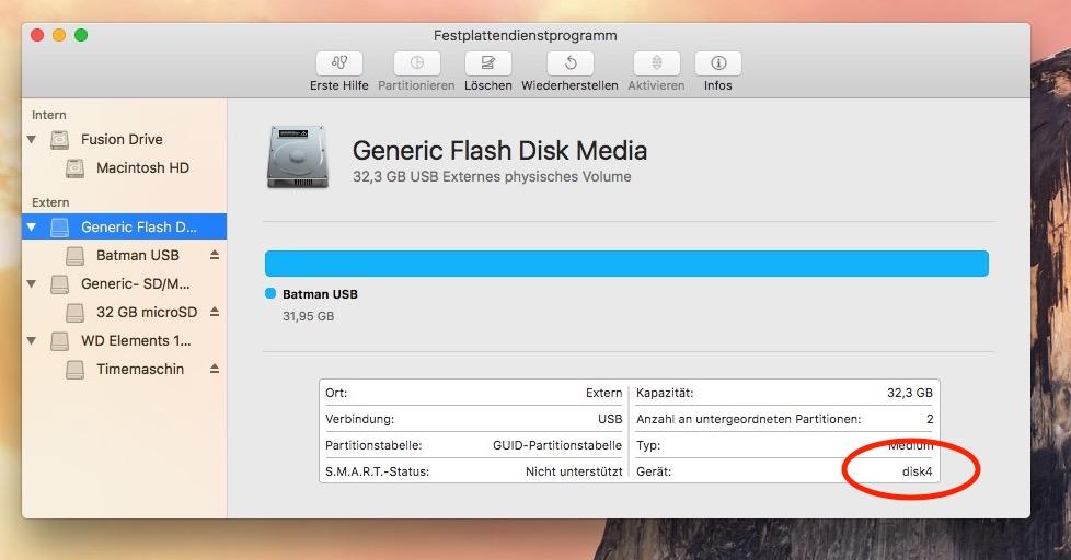 USB Speicher: merken Sie sich die Disk Nummer!