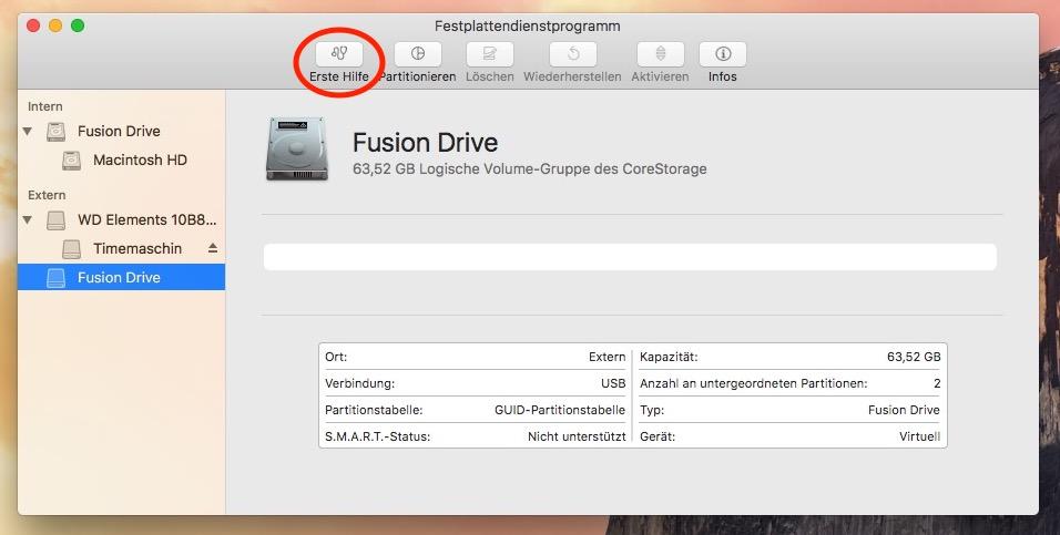 """Das war es schon fast! Das Fusion Drive ist da, jetzt muss noch eine Partition erstellt werden. Das geht am besten mit """"Erste Hilfe"""""""